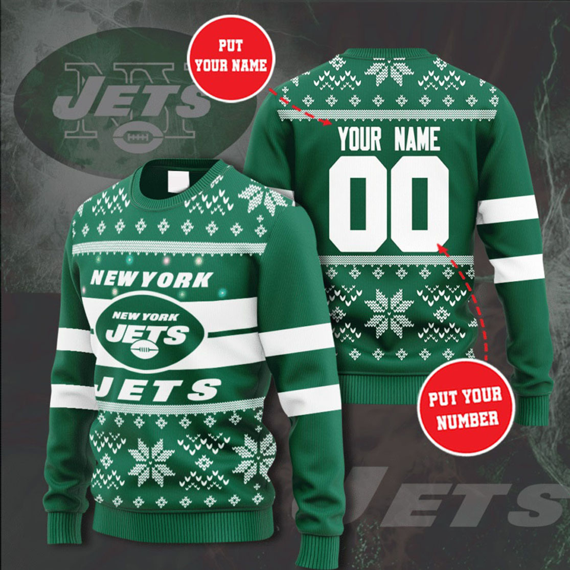 Personalized Name and Number New York Jets christmas sweater
