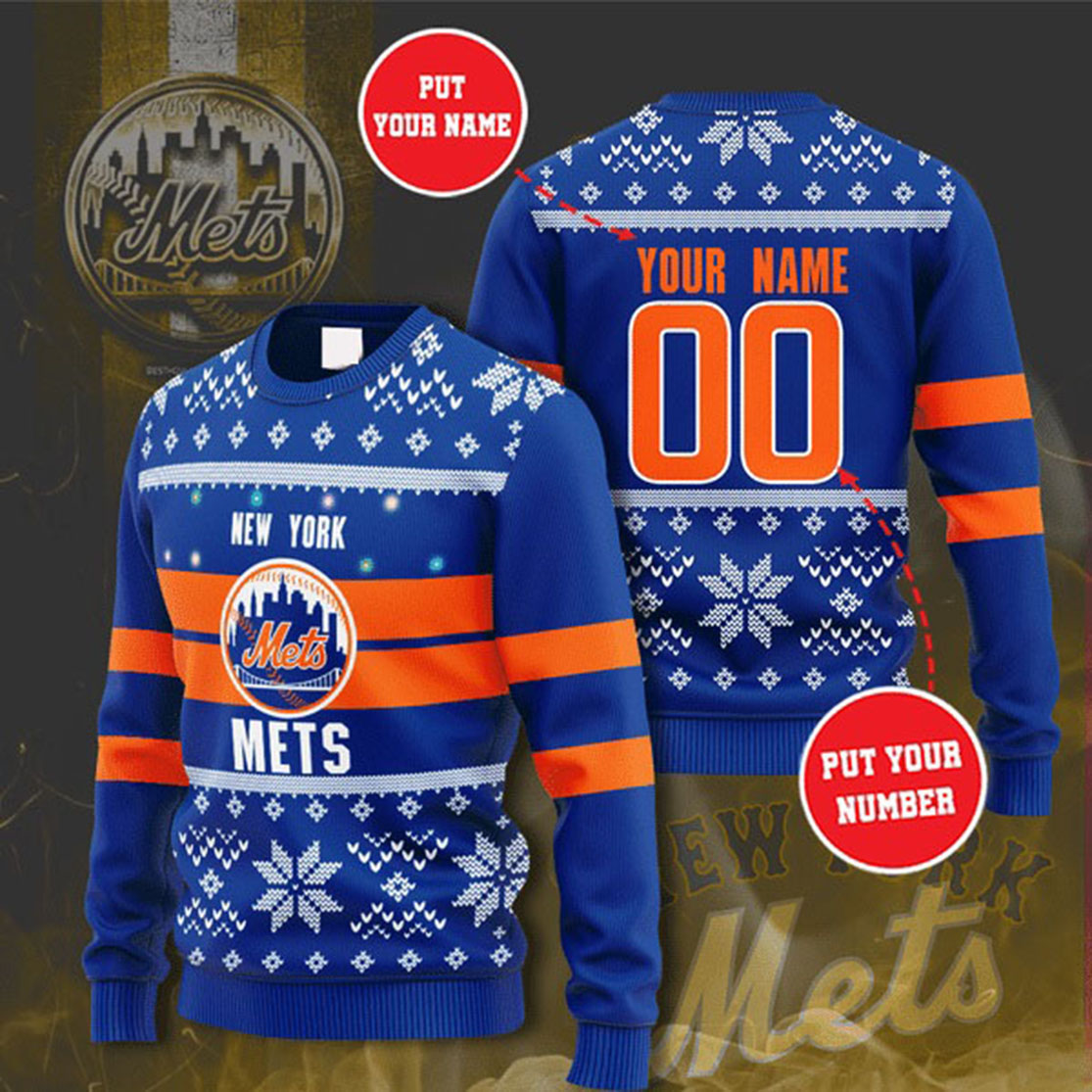 Personalized Name and Number New York Mets christmas sweater