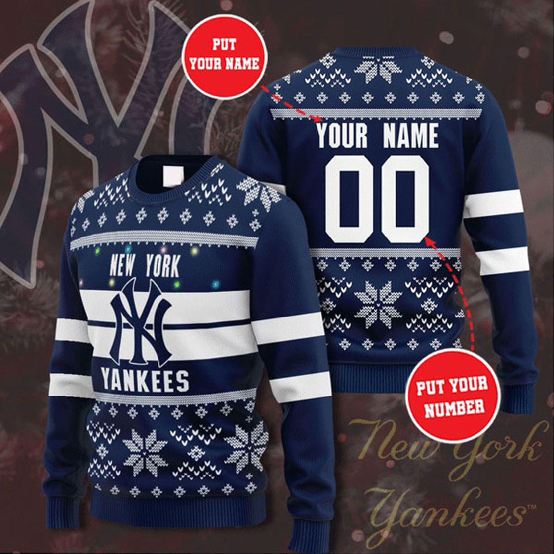 Personalized Name and Number New York Yankees christmas sweater
