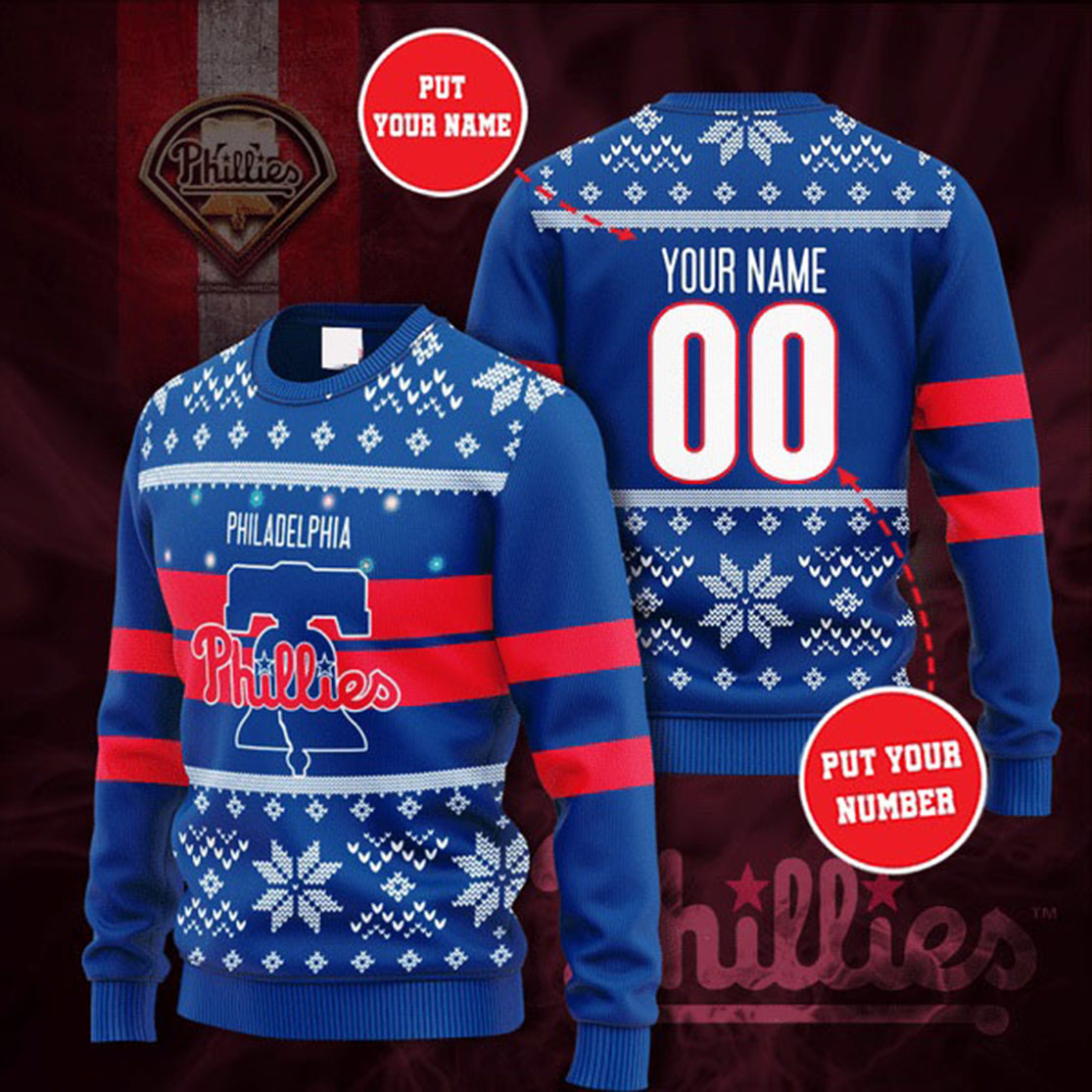 Personalized Name and Number Philadelphia Phillies christmas sweater
