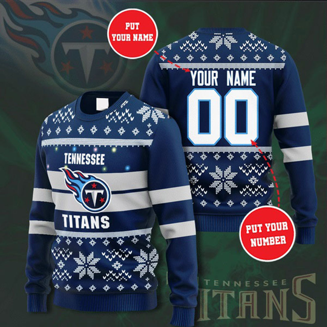 Personalized Name and Number Tennessee Titans christmas sweater
