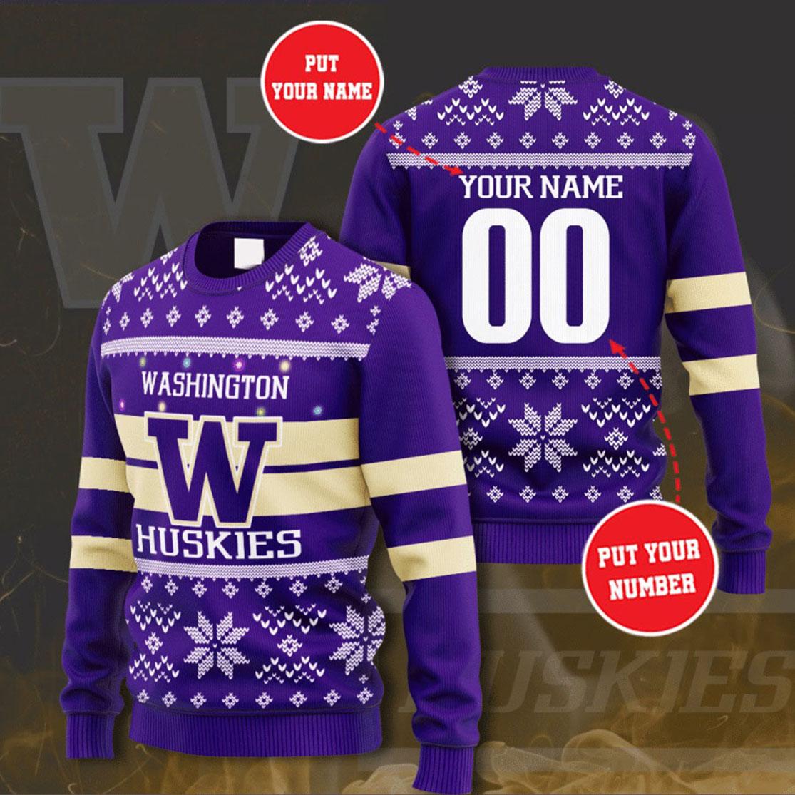 Personalized Name and Number Washington Huskies christmas sweater