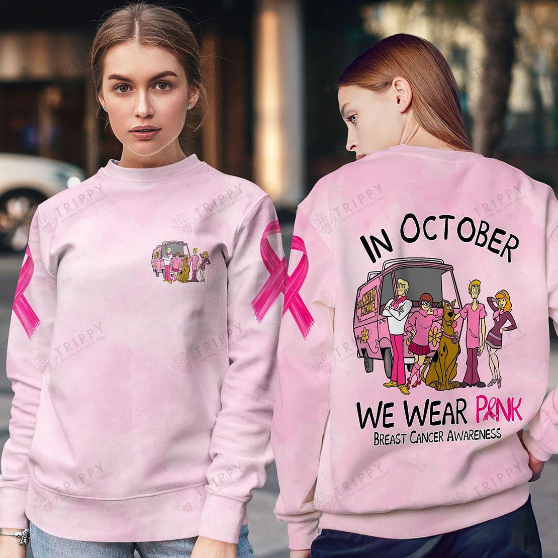 Scooby Doo In October We Wear Pink Breast Cancer Awareness 3D All Over Printed Sweatshirt