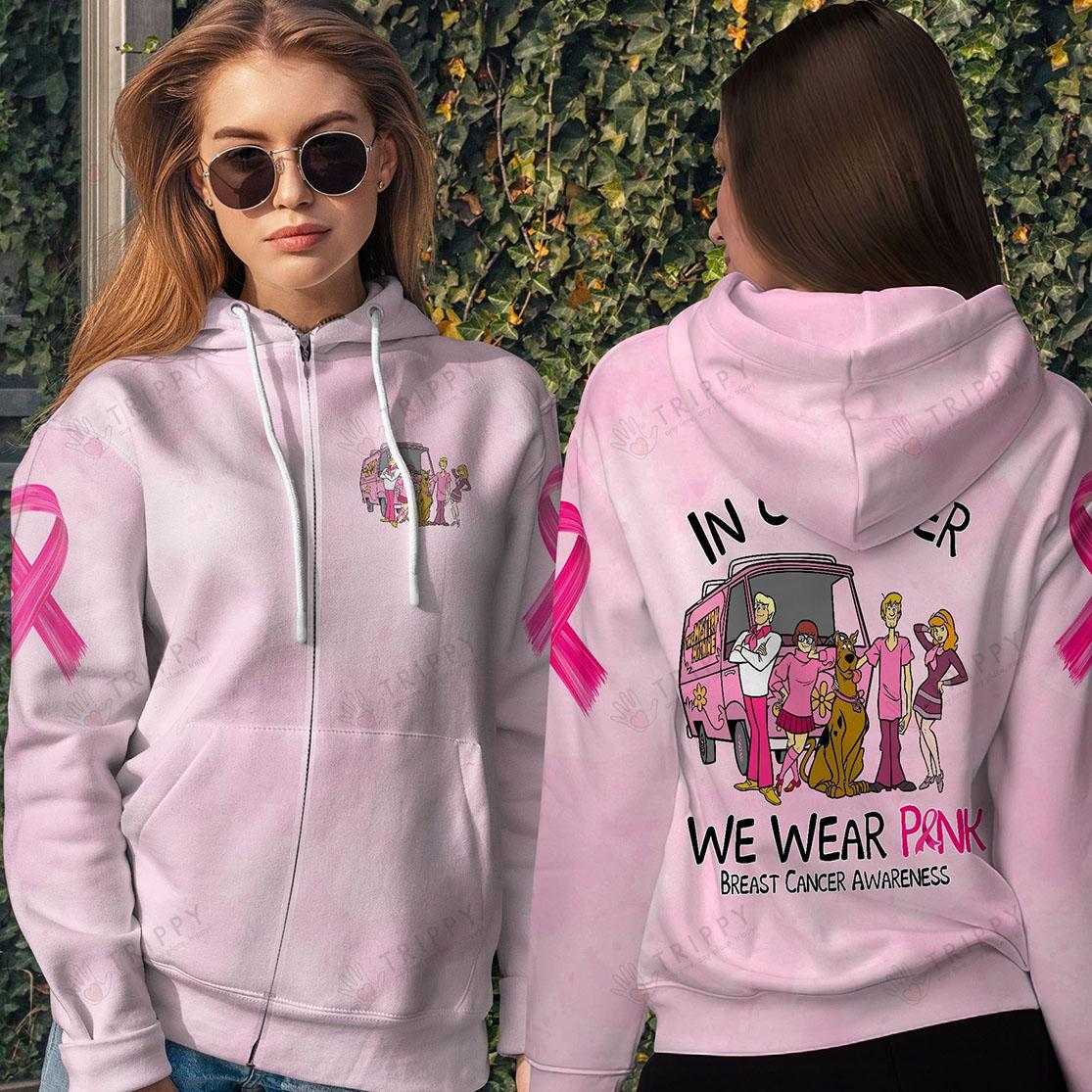 Scooby Doo In October We Wear Pink Breast Cancer Awareness 3D All Over Printed Zip Hoodie