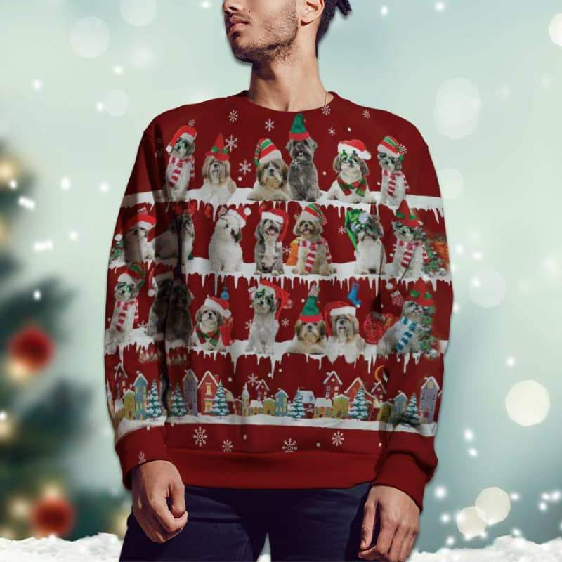 Shih Tzu Snow Christmas 3D Ugly Sweater