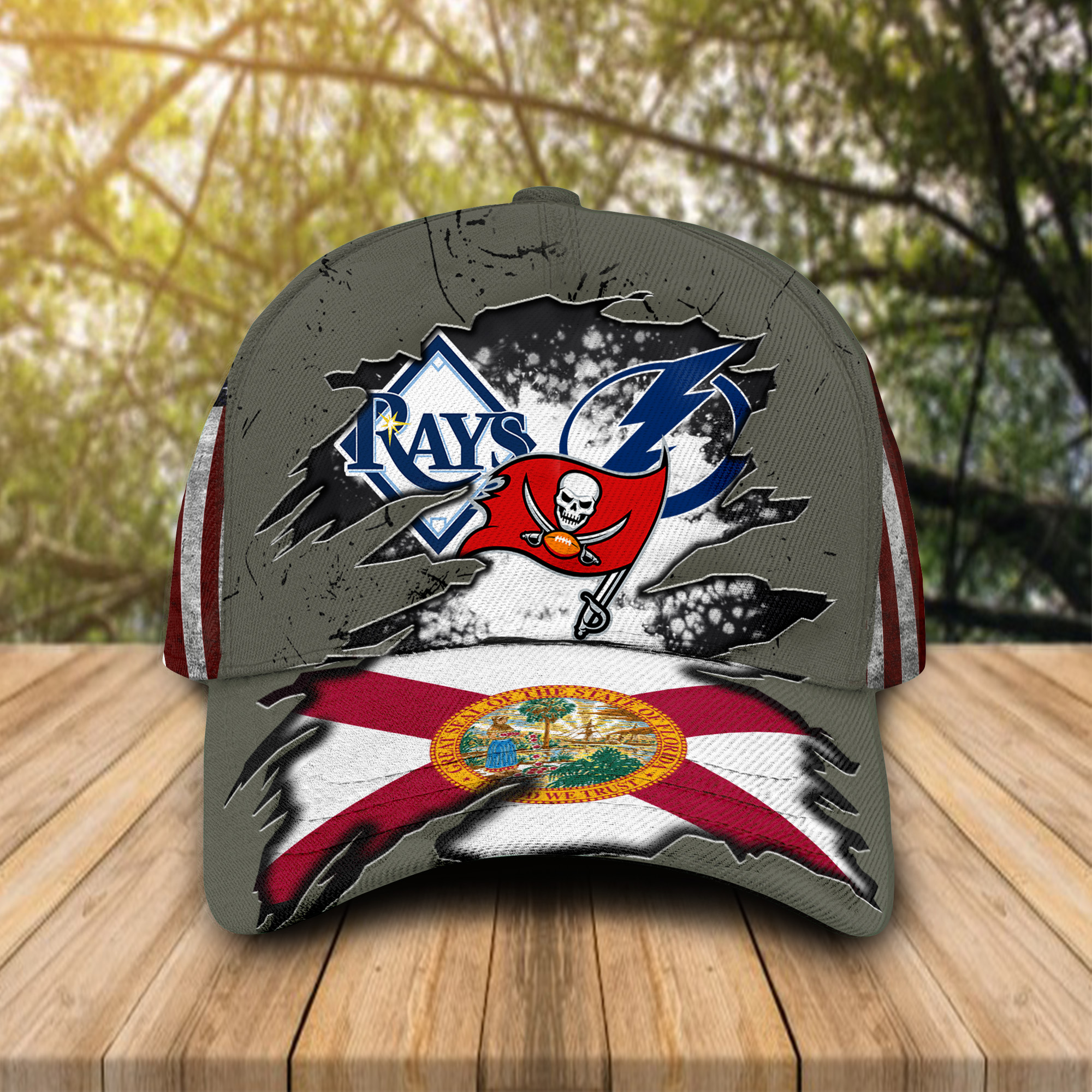 Tampa Bay Buccaneers Tampa Bay Rays Tampa Bay Lightning All Over Print Cap Hat