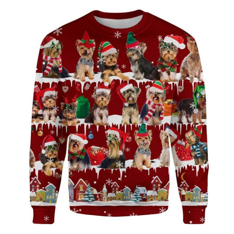 Yorkshire Terrier Snow Christmas 3D Ugly Sweater